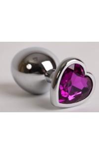 47143 Пробка металлическая серебро (страз фиолетовый)