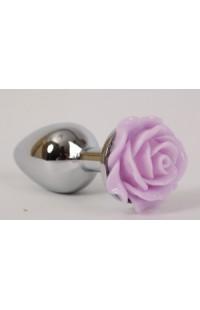 47184 Анальная пробка с розой (металл)